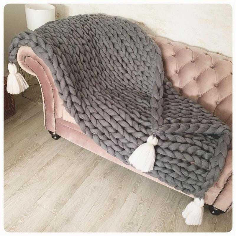 manta maxi tricot com tassel