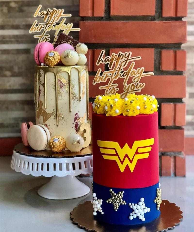 bolo mulher maravilha decorado