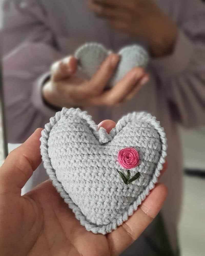 Chaveiro de coração cinza