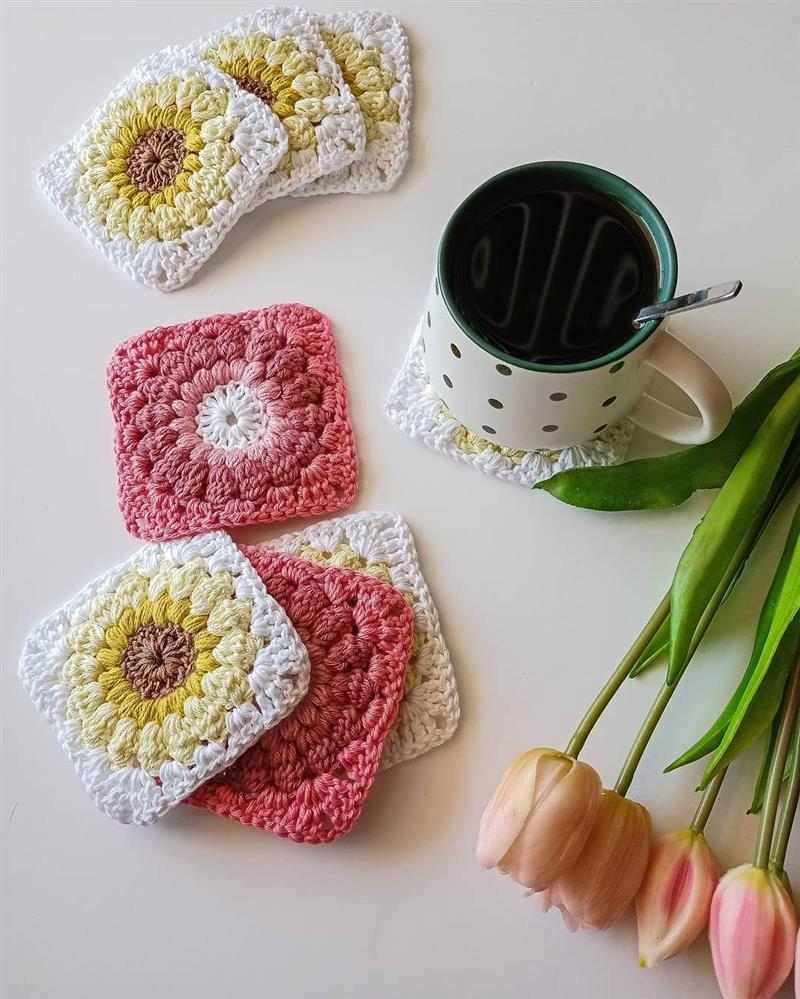 Porta copos square floral