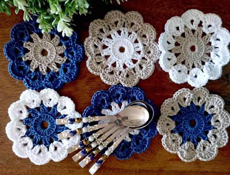 conjunto de porta copos de croche
