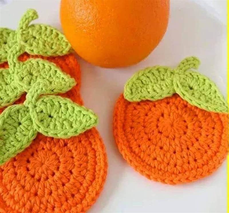 porta copo de croche laranja