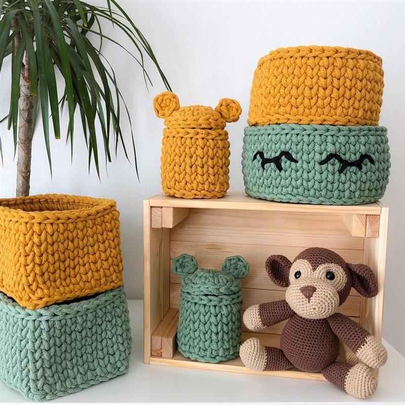 tipos de cestos de crochê