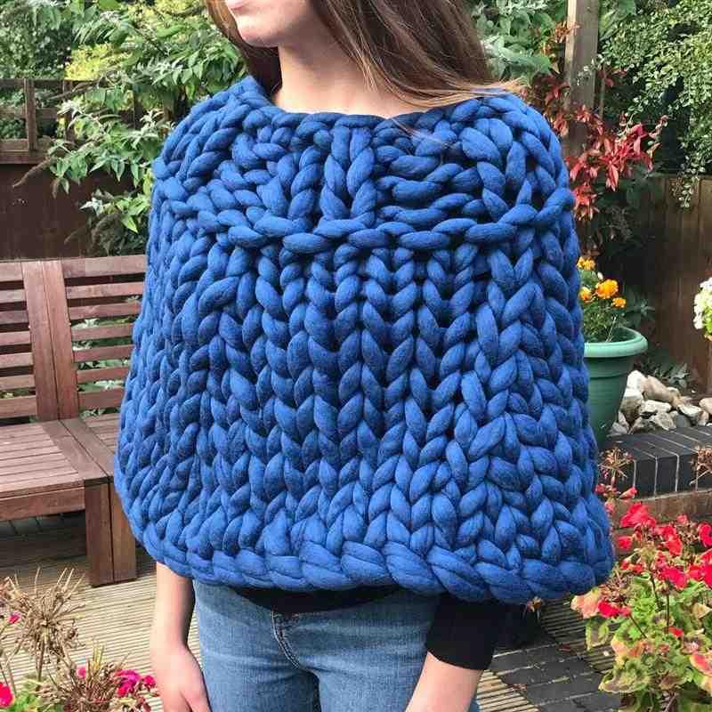 poncho feminino de maxi tricot