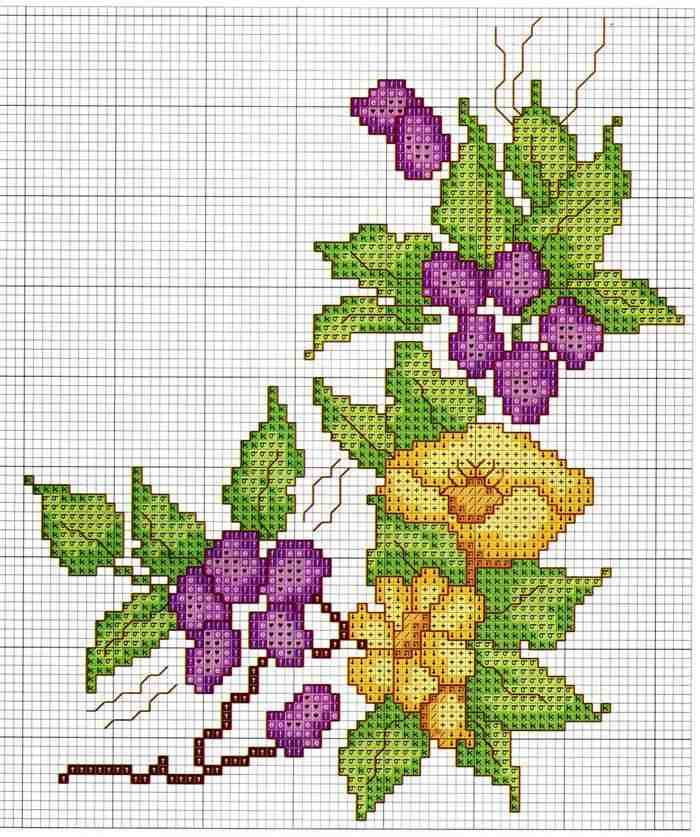 grafico de ponto cruz flores simples