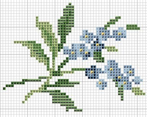 grafico ponto cruz mini flores