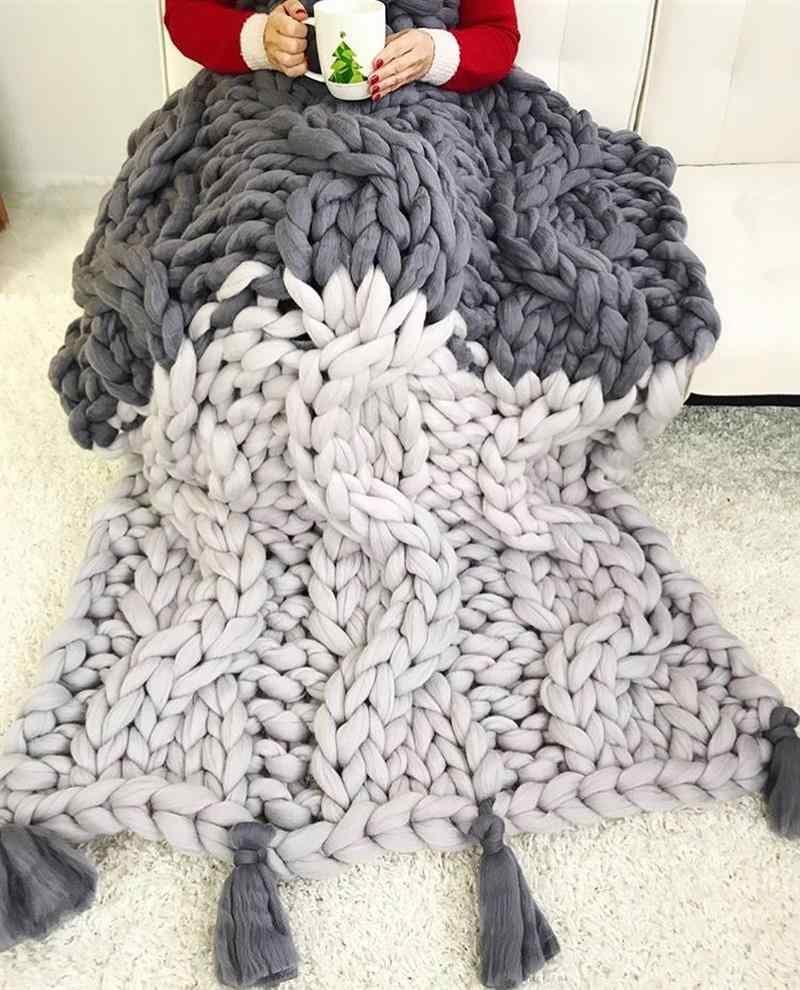 maxi tricot manta com franja
