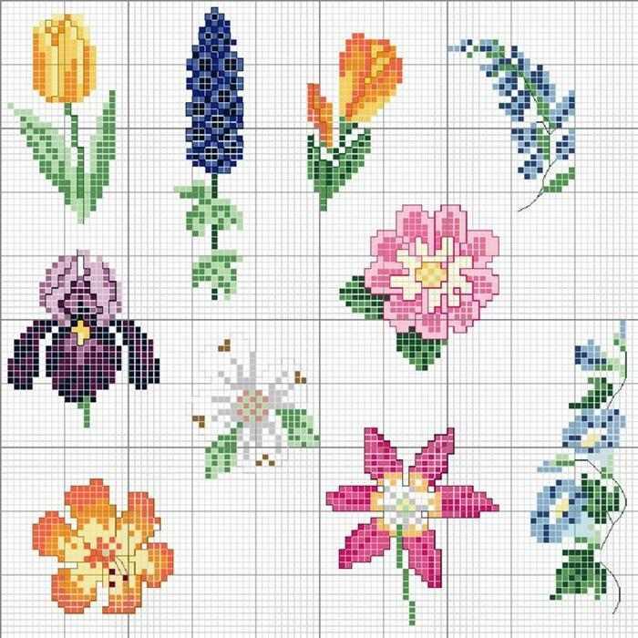 graficos de ponto cruz flores para almofadas