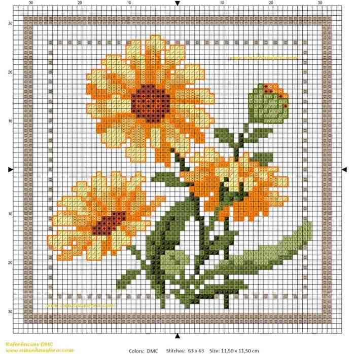 gráficos de ponto cruz flores grátis