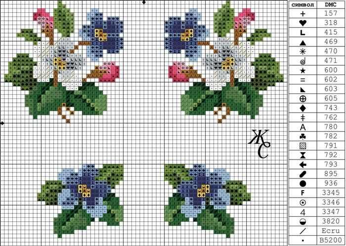 grafico de ponto cruz em flores
