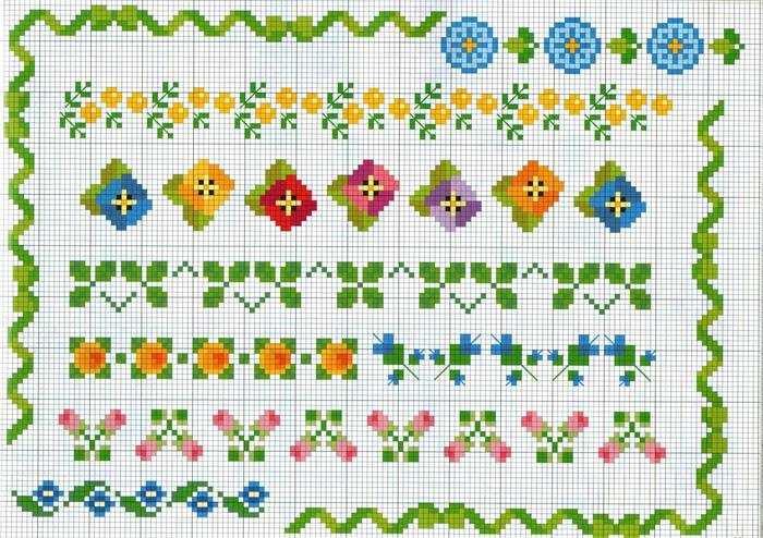 ponto cruz flores para caminho de mesa