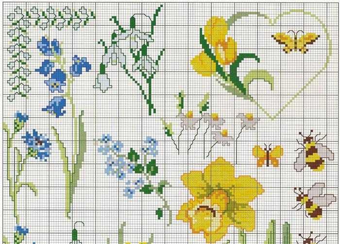 gráficos ponto cruz flores delicadas faceis