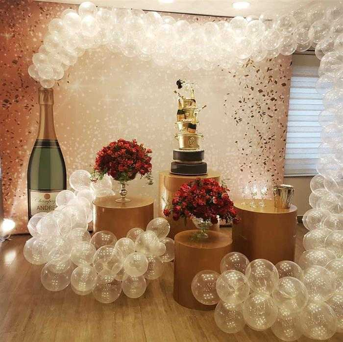 balões de champagne ano novo