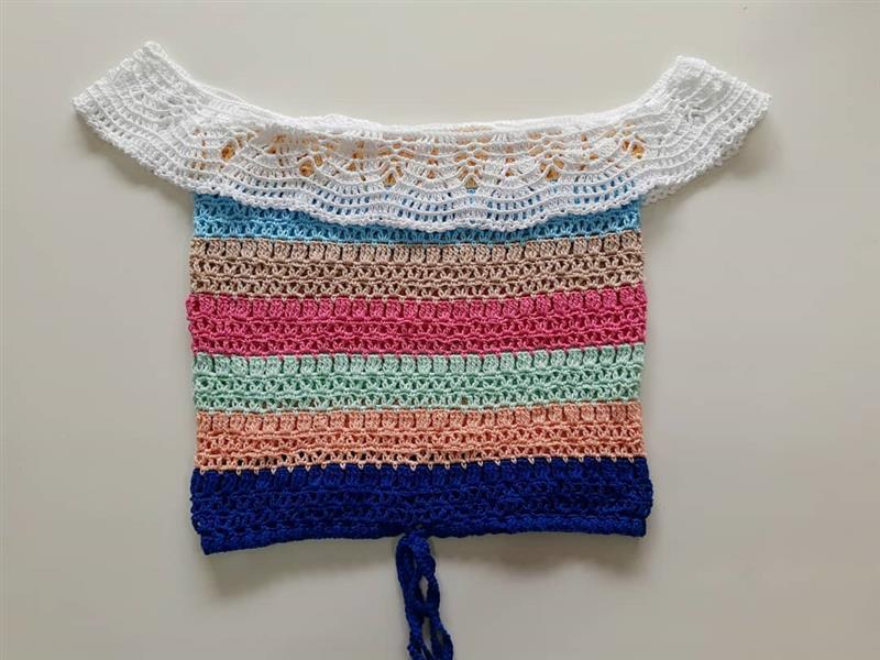 Blusa de crochê ciganinhacolorida
