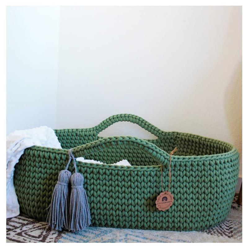 cesto de croche oval verde