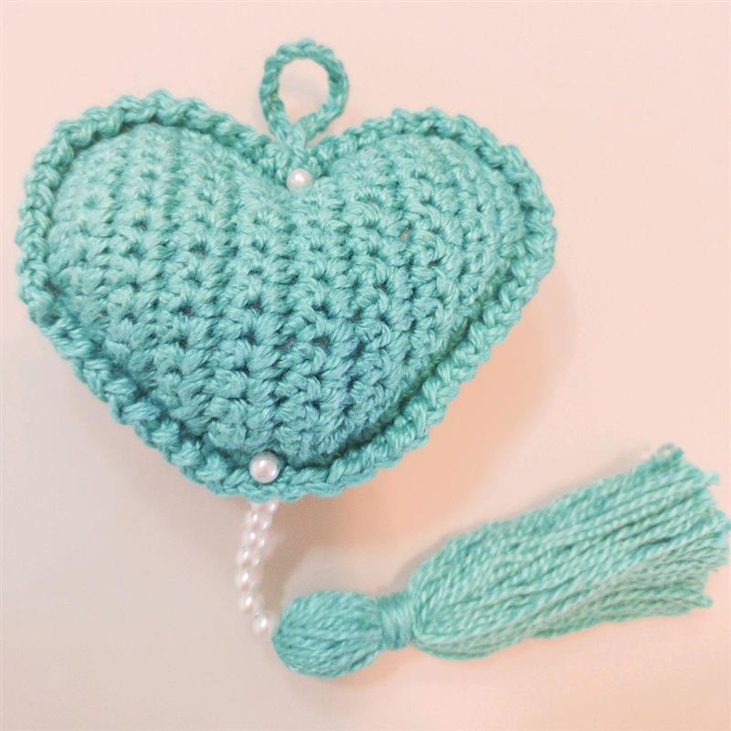 Chaveiro coração de crochê