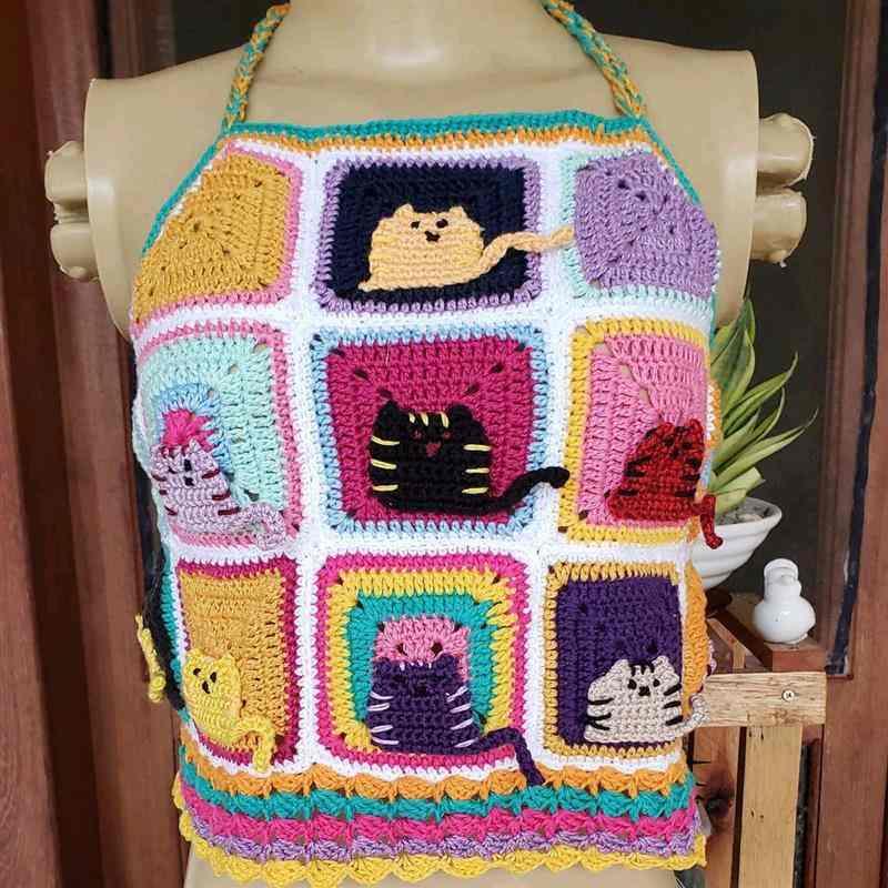 aplicação de gatinhos em crochê