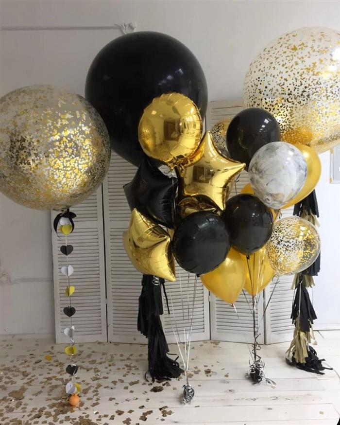 decoração de ano novo com baloes