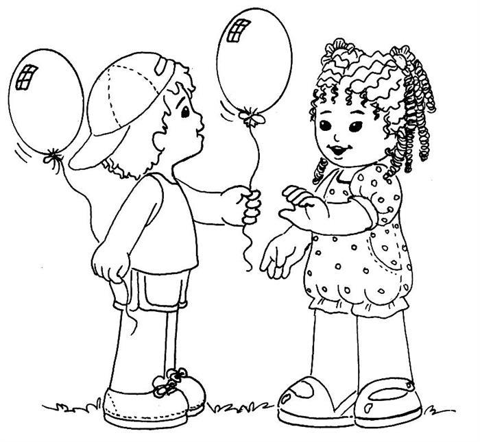crianças com baloes
