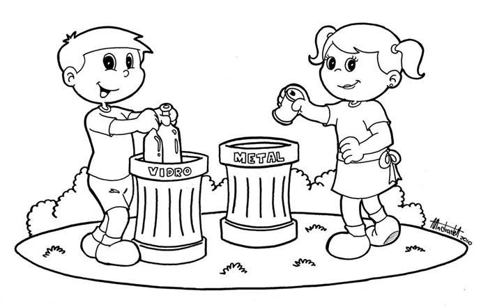 Desenho para colorir sobre reciclagem