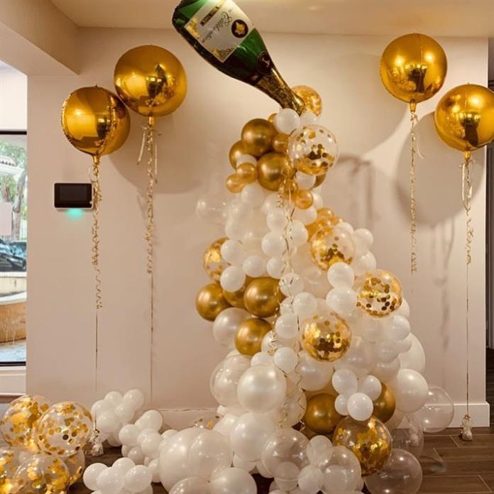 decoração com espumante ano novo