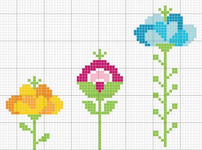 graficos de ponto cruz flores para toalhas