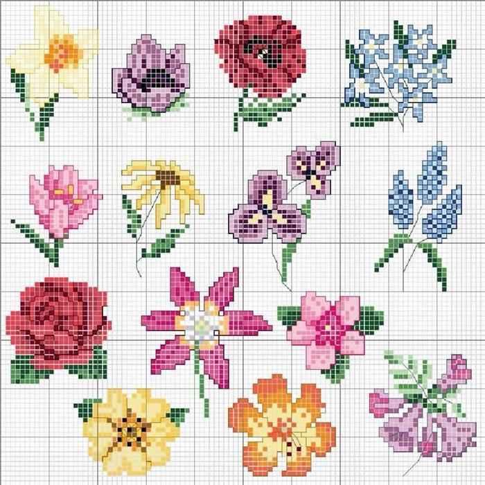 graficos ponto cruz flores margaridas