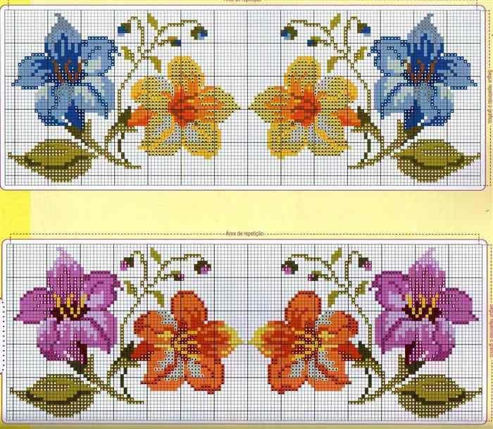 flores azuis e lilas