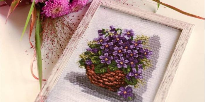 cesto de flores ponto cruz