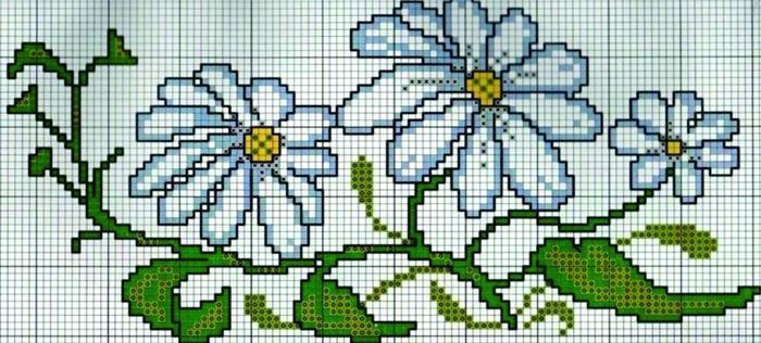 gráficos ponto cruz flores delicadas azuis