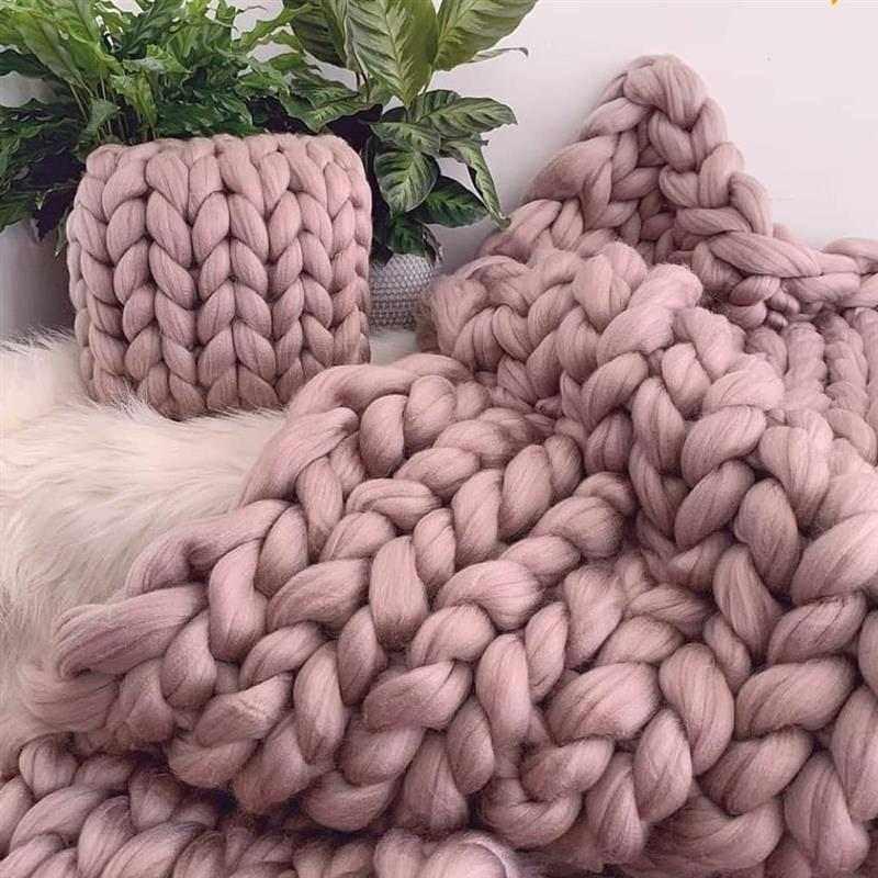 manta e almofada maxi tricot