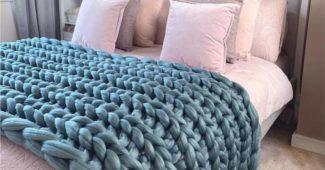 maxi tricot azul para cama