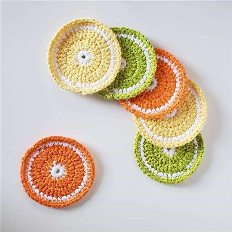 Porta copo de crochê frutas cítricas