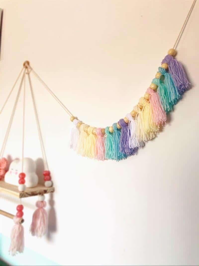 Varal decorativo de lã