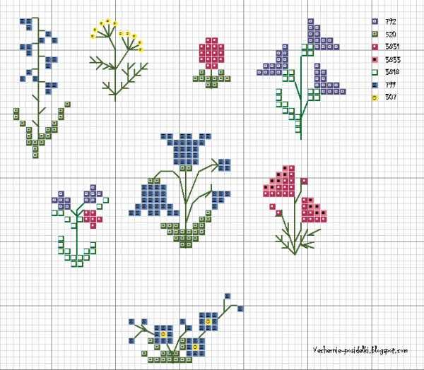 gráficos ponto cruz flores delicadas pequenas