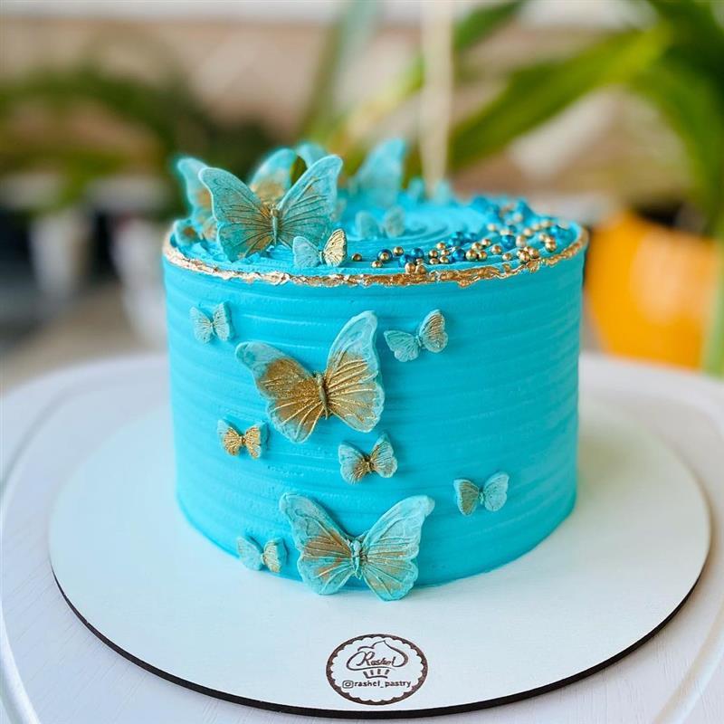 bolo de borboletas azul