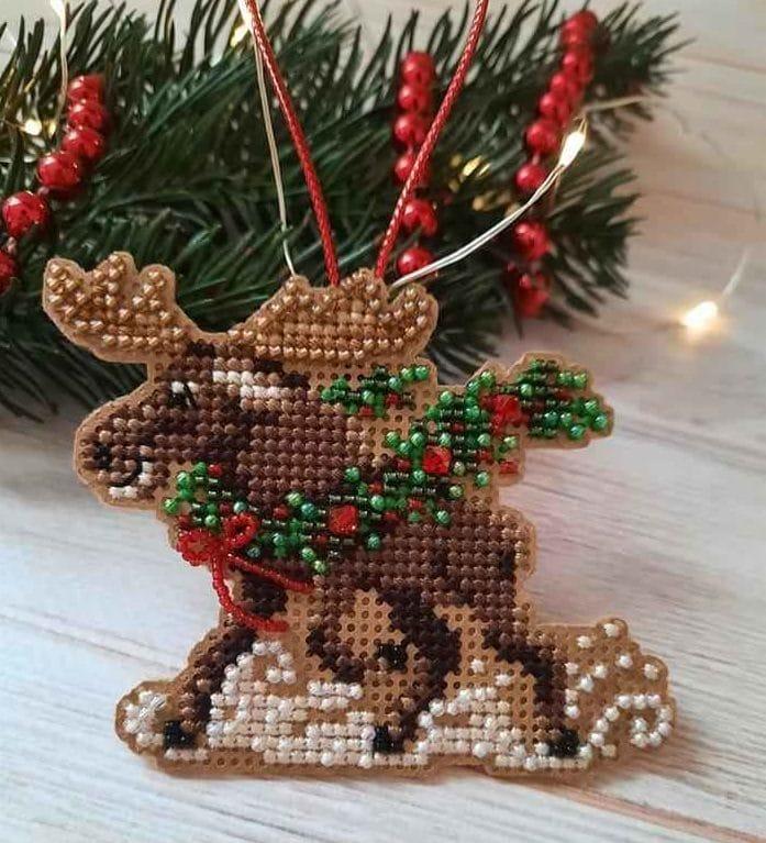 Artesanato natalino com ponto cruz