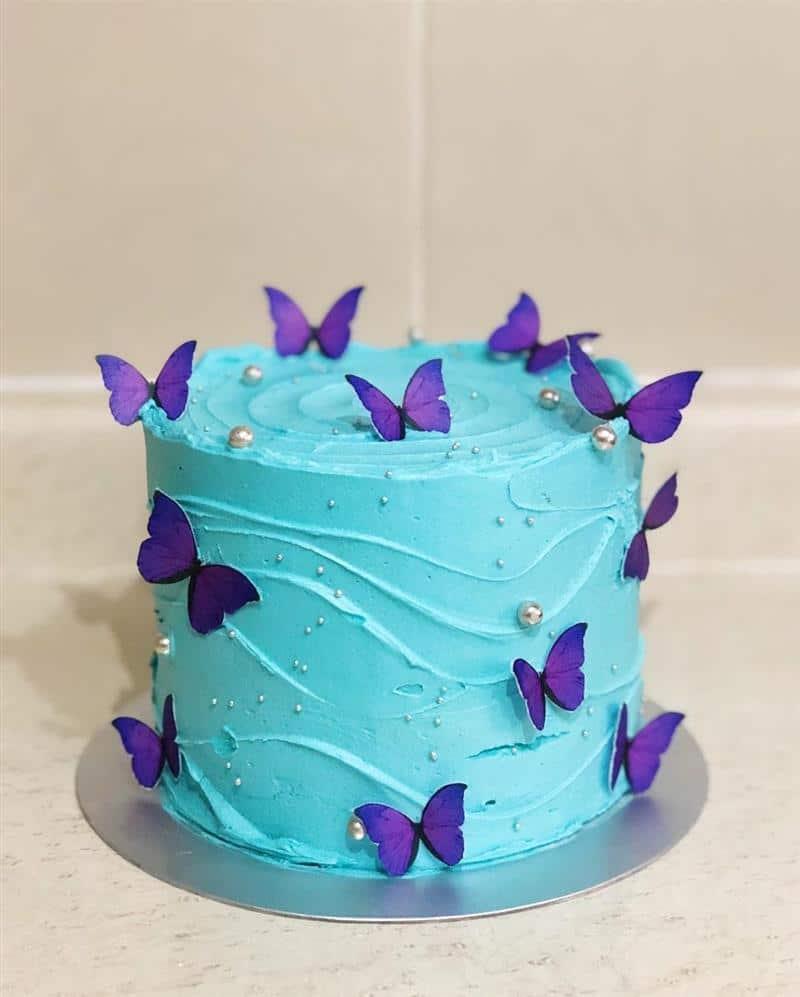 topo de bolo borboletas roxas