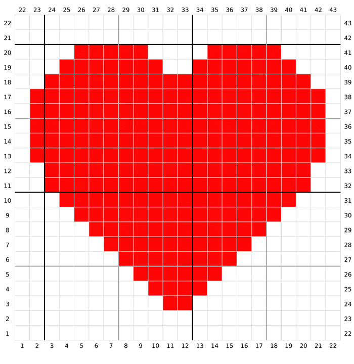 coração em ponto cruz vermelho