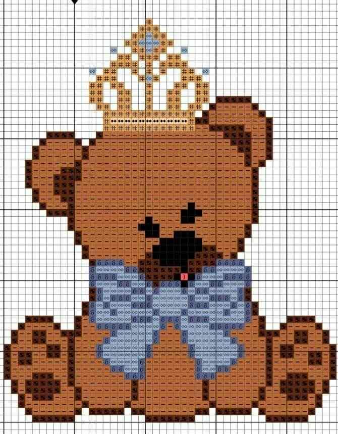 grafico ursinho principe em ponto cruz
