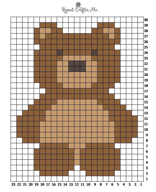 grafico de ursinho em ponto cruz