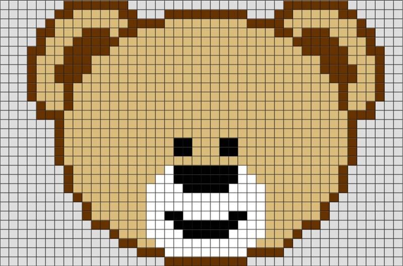 rosto de ursinho em ponto cruz