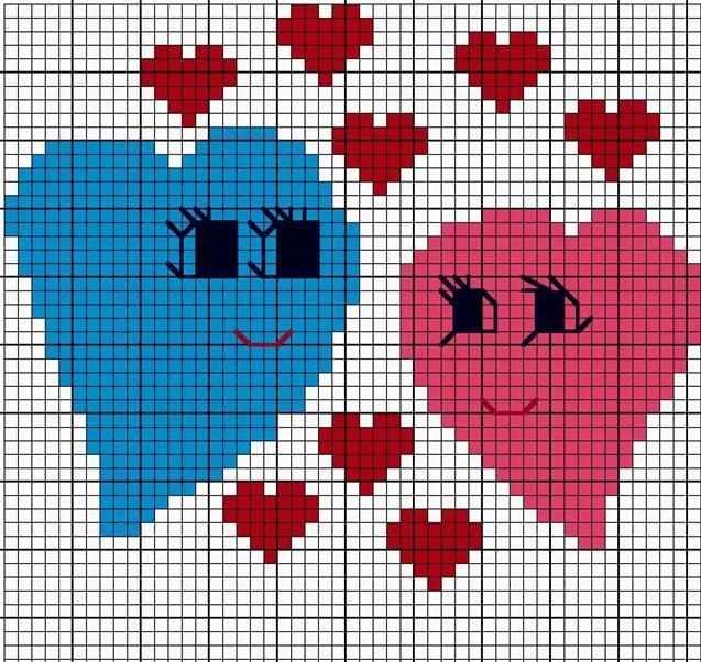 coração em ponto cruz apaixonado