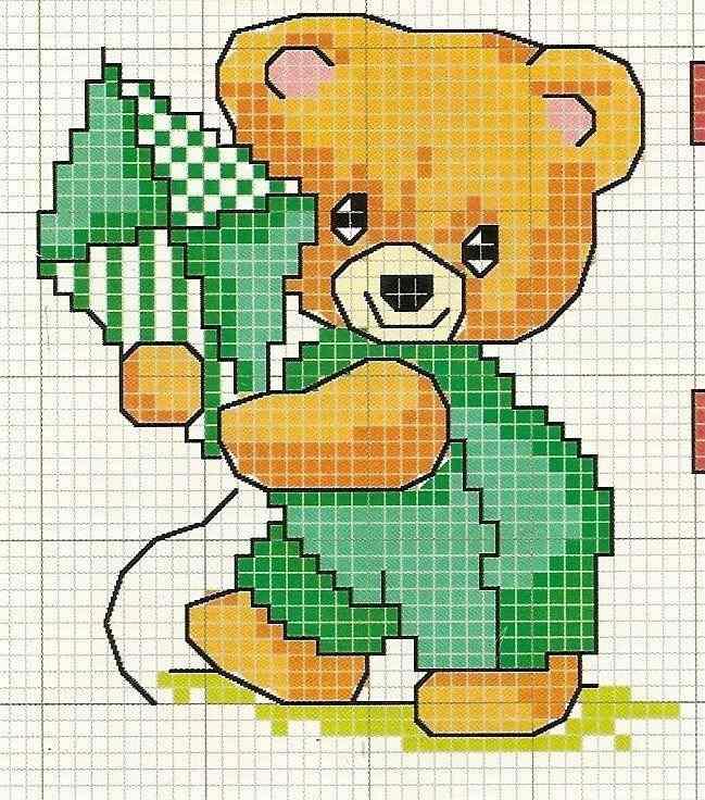 bordado de ursinho em ponto cruz