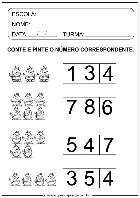 Atividades de Matemática Educação Infantil para imprimir