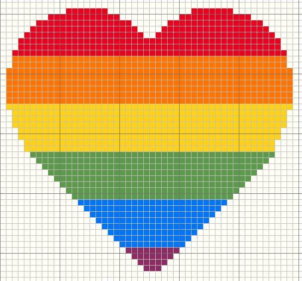 coração em ponto cruz arco iris