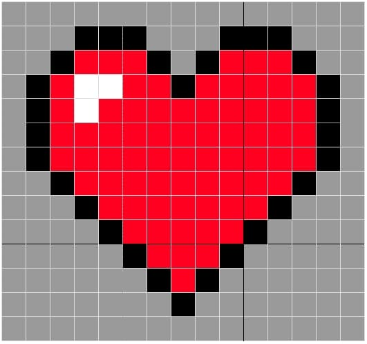 coração ponto cruz duas cores