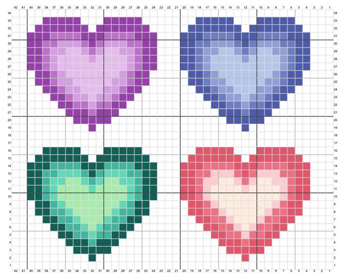 corações em ponto cruz graficos