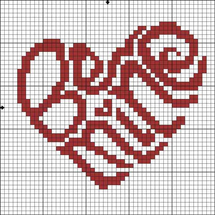 coração ponto cruz grafico simples