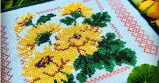 flroes amarelas ponto cruz